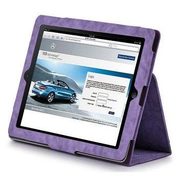 X-doria New iPad/2牛仔布紋皮套-紫/含水晶螢幕保護貼組
