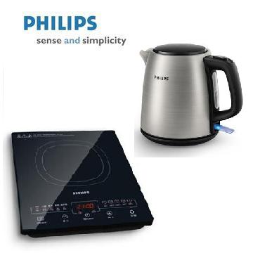 飛利浦 黑微晶智慧變頻電磁爐+飛利浦PHILIPS 1L 不鏽鋼煮水壺 組合