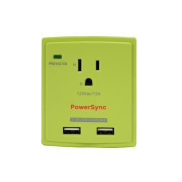 群加2埠USB單孔防雷擊抗突波壁插【綠】