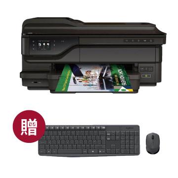 【送羅技鍵鼠組】HP OJ7612 A3無線傳真事務機