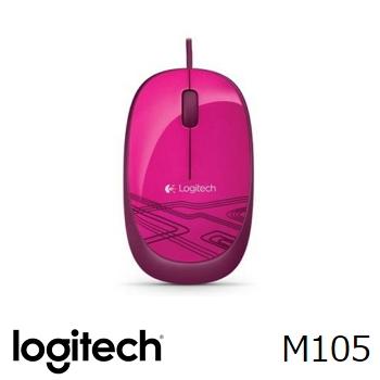 羅技Logitech M105 有線滑鼠 粉