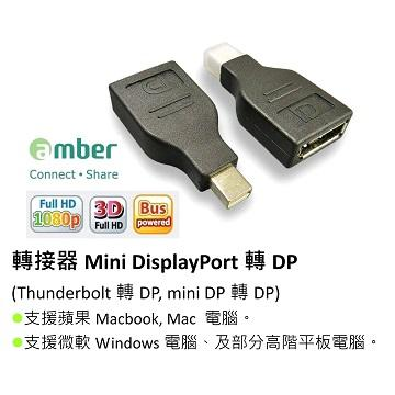 Amber mini DisplayPort 轉 DP 轉接頭