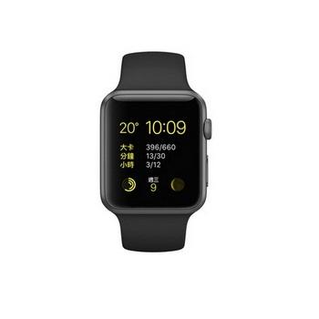 【42mm】Apple Watch Sport 太空灰鋁金屬/黑色運動錶帶 MJ3T2TA/A