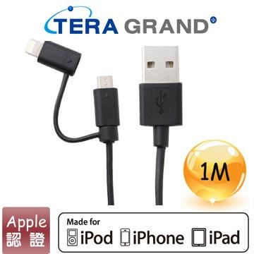 【1M】Tera Grand Apple認證8Pin+USB傳輸線-黑
