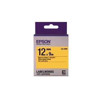 愛普生EPSON LK-4YBP 粉彩系列黃底黑字標籤帶