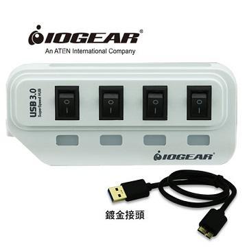 【組合包】IOGEAR節能開關4埠HUB集線器-白+IOGEAR Type-C對USB A母轉接器