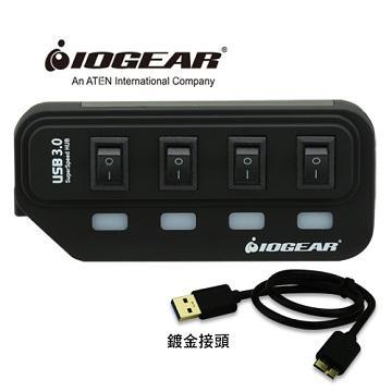 【組合包】IOGEAR節能開關4埠HUB集線器-黑+IOGEAR Type-C對USB A母轉接器