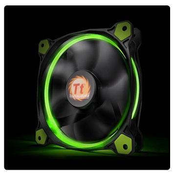 曜越Riing 12CMLED高風壓水冷排風扇(綠光)