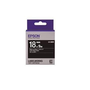 【福利品】EPSON LK-5BWV 黑底系列黑底白字標籤帶