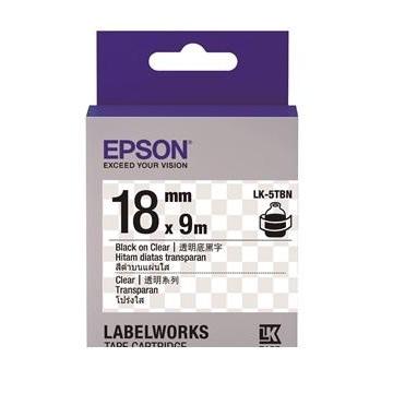【福利品】EPSON LK-5TBN透明系列透明底黑字標籤帶