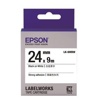 EPSON LK-6WBW高黏性系列白底黑字標籤帶