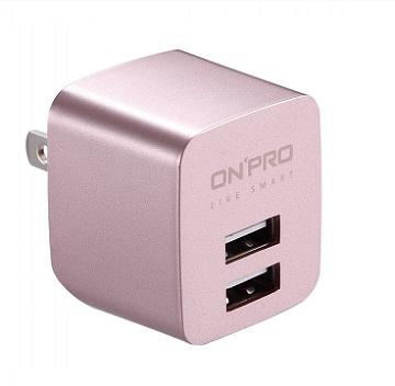 ONPRO USB雙埠電源供應器-玫瑰金