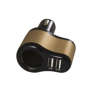 黑米車用點煙器+3.1A雙USB擴充座-黑金