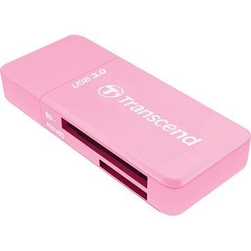 創見USB3.0 SD/microSD 讀卡機 (粉) TS-RDF5R