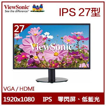 【限時一天49折】【27型】ViewSonic VA2719 IPS液晶顯示器