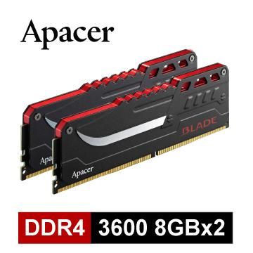 【16G (8GX2)】Apacer DDR4 3600 超頻記憶體 B-DDR4-3600-16GB