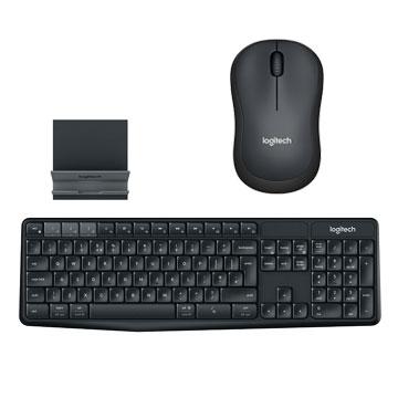 【同捆組】羅技 Logitech M221 SILENT靜音無線滑鼠-黑灰+羅技 Logitech K375s 跨平台無線/藍牙鍵盤支架組