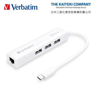 Verbatim VH1 Type-C三孔集線器+網路孔
