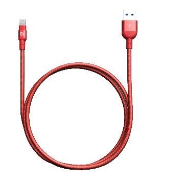 亞果元素 ADAM MFi認證8pin編織充電線1.2m - 紅色