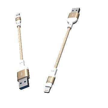 亞果元素 ADAM MFi認證8pin編織充電線20cm - 金色