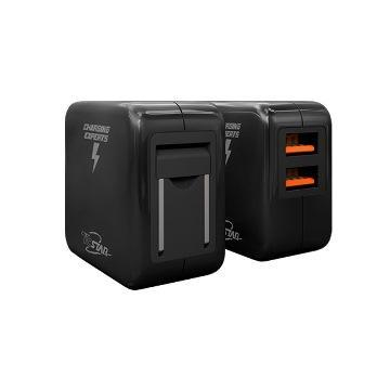 T.C.STAR 雙孔2.4A USB旅充-黑