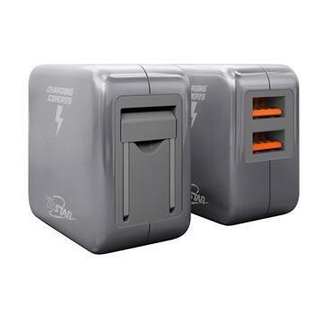 T.C.STAR 雙孔2.4A USB旅充-灰