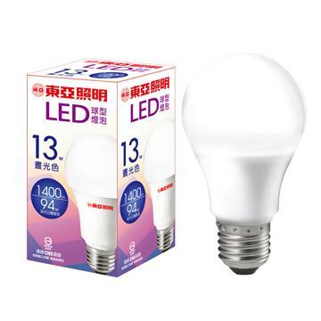 【二入組】東亞13W LED球型燈泡-晝光色