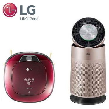 LG 360度空氣清淨機(玫瑰金色) + LG WIFI濕拖清潔機器人 VR6685TWARV