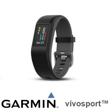 【小】Garmin Vivosport GPS智慧心率手環 - 躍動黑