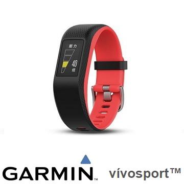 【小】Garmin Vivosport GPS智慧心率手環 - 珊瑚紅