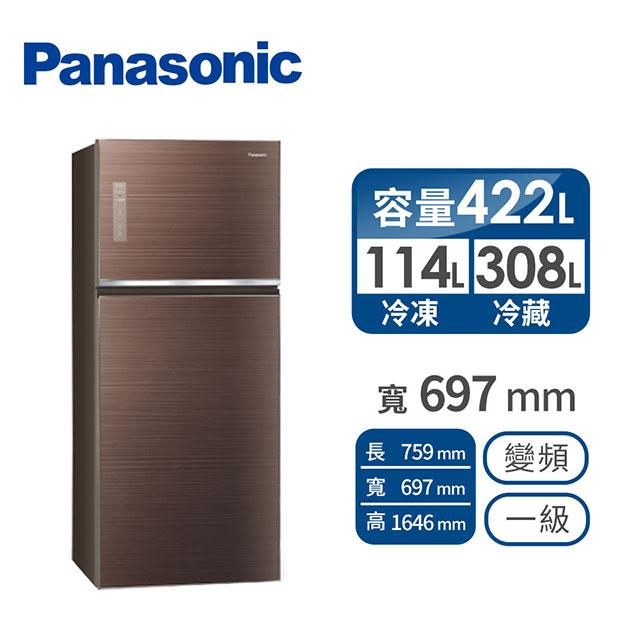 Panasonic 422公升玻璃雙門變頻冰箱