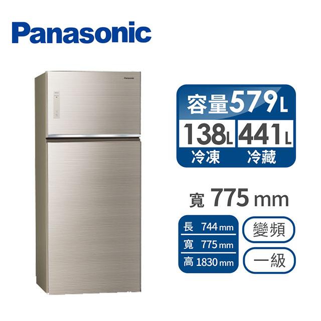 Panasonic 579公升玻璃雙門變頻冰箱 NR-B589TG-N(翡翠金)