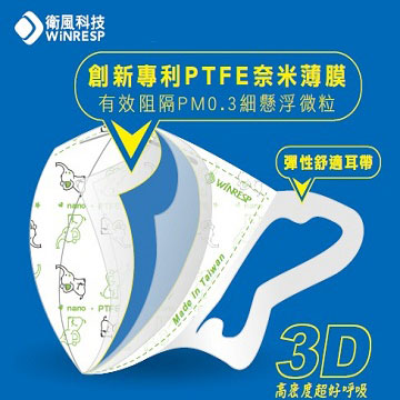 衛風 PM0.3醫用口罩-成人3入 M-L 3919P-3