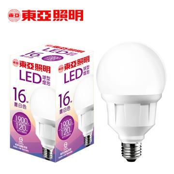 東亞16W LED球型燈泡-晝白色 LLA019-16AAN