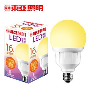 東亞16W LED球型燈泡-燈泡色
