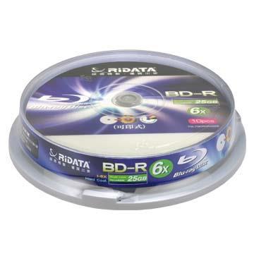 RIDATA 6X BD-R 25G可印藍光片/10片桶裝