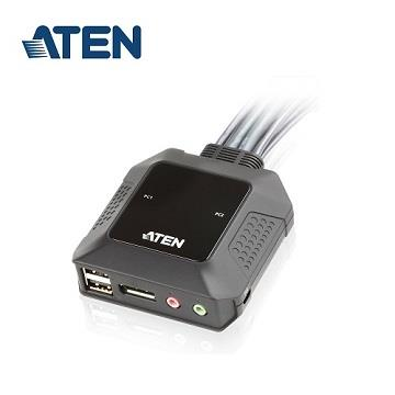 ATEN 2埠USB DisplayPort帶線式KVM切換器