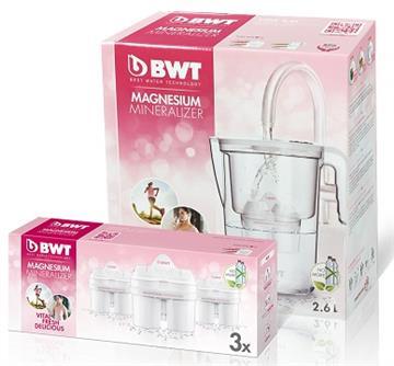 BWT德國倍世 鎂離子健康壺超值組(雪花白) VIDA 2.6L濾水壺+濾芯*3入