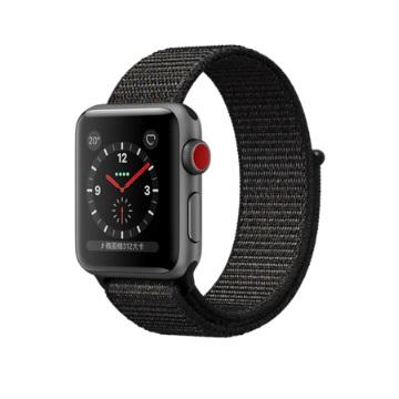 【LTE版 38mm】Apple Watch S3/太空灰鋁/黑運動錶環