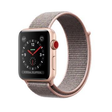 【LTE版 42mm】Apple Watch S3/金鋁/沙粉運動錶環