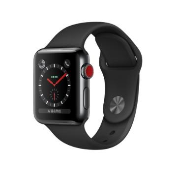 【LTE版 38mm】Apple Watch S3/太空黑不鏽鋼/黑運動錶帶