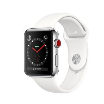 【LTE版 42mm】Apple Watch S3/不鏽鋼/柔白運動錶帶
