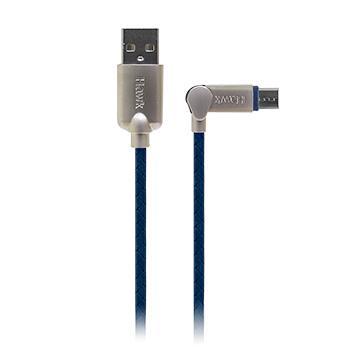 Hawk可彎折Micro USB充電傳輸線-1.5M(藍) 04-HZM150BL