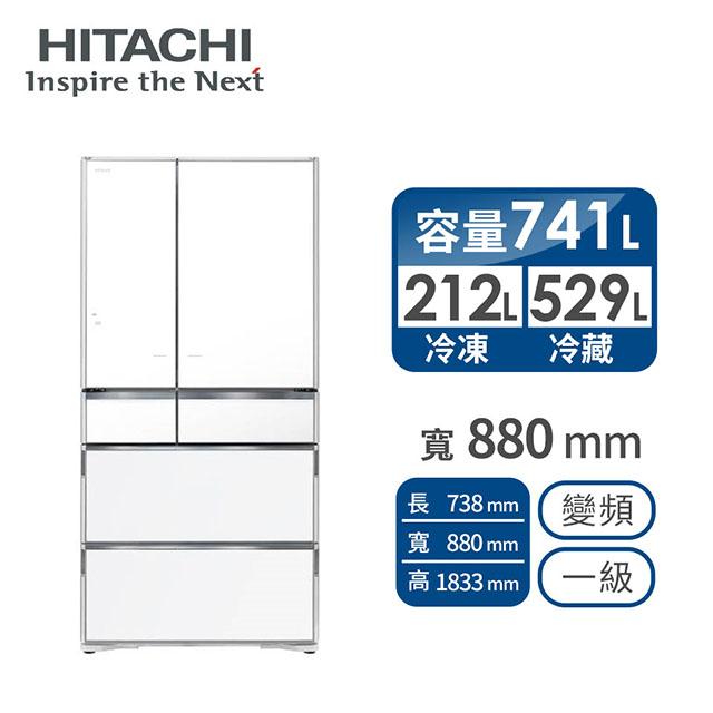 HITACHI 741公升白金觸媒ECO六門超變頻冰箱 RX740HJXW(琉璃白)
