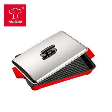 摩堤 A4 鑄鐵肋烤盤 紅 SE-02032-AH1