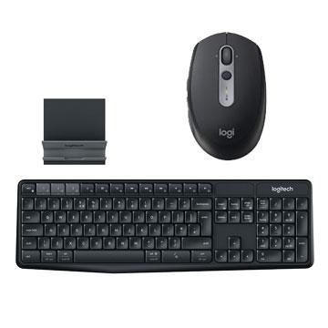 【同捆組】羅技M590多工靜音無線滑鼠-炭石黑+羅技 Logitech K375s 跨平台無線/藍牙鍵盤支架組 910-005200