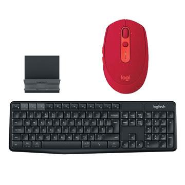 【同捆組】羅技M590多工靜音無線滑鼠-寶石紅+羅技 Logitech K375s 跨平台無線/藍牙鍵盤支架組 910-005202