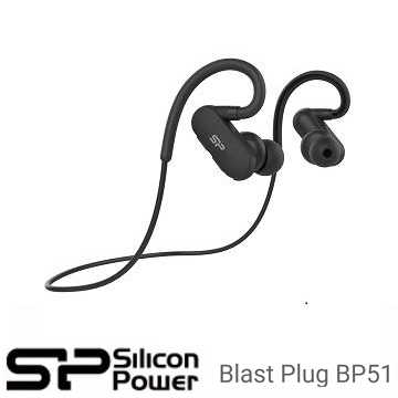 廣穎 Silicon-Power Blast Plug BP51 運動型V4.1藍芽耳機 黑色 SP3MWASYBP51BT0K