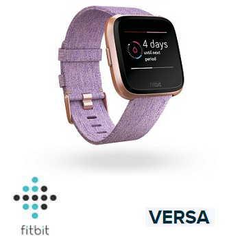【特別款】Fitbit Versa 智慧手錶 - 玫瑰金錶框淡紫編織紋錶帶