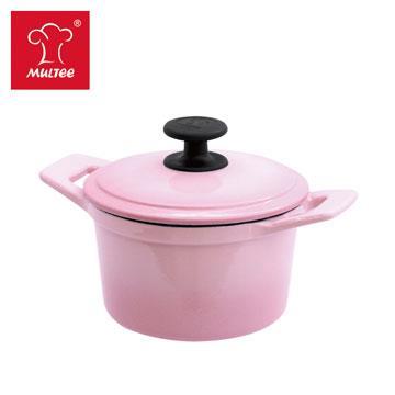 摩堤 16cm 鑄鐵圓鍋 漸層粉紅